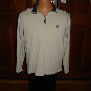 CHAPS Men Sz M 1/2-Zip Long-Sleeve White Pullover
